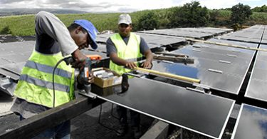Engineers working on solar panel (h 250)