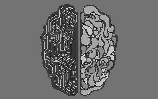 Artificial Intelligence Brain in Grey Background