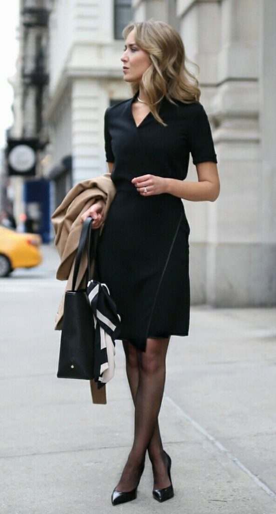 Black formal dress with tights