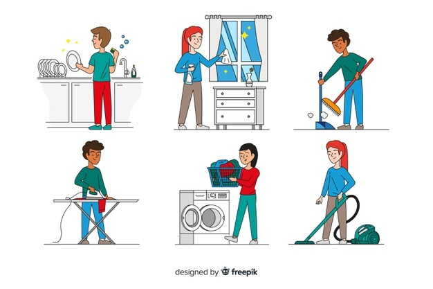 art of humans doing housework