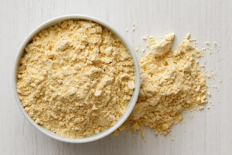 gram flour in white bowl